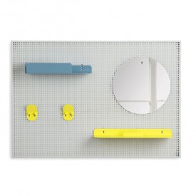 Wall Storage Alfred - Light grey, yellow & pastel blue