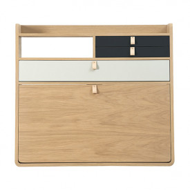 Gaston Wall Desk 80 cm - Oak - Light Grey/Anthracite