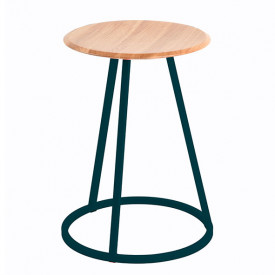 Gustave Stool - Oak & Petrol Blue