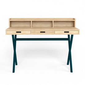 Hyppolite Desk - Oak & Petrol Blue