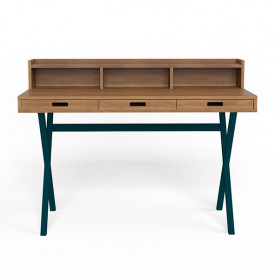 Hyppolite Desk - Walnut & Petrol