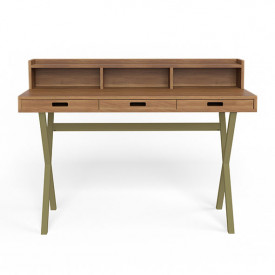 Hyppolite Desk - Walnut & Olive Green