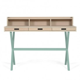 Hyppolite Desk - Oak & Celadon Green