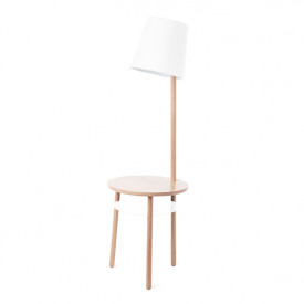 Josette Side Table with Lamp - White