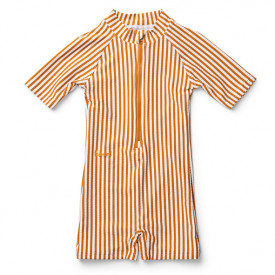 Max Swim Jumpsuit - Stripes Mustard/White