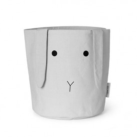 Fabric Basket Rabbit - M - Grey