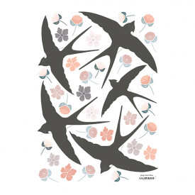 Wallstickers Flowers and Swallows (A3)
