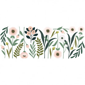 Wallstickers Flowers and Leaves (126.5x48cm)