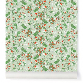 Wallpaper Strawberry Fields Almond Green