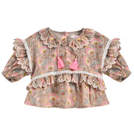 Gaita Blouse - Khaki Folk Flowers