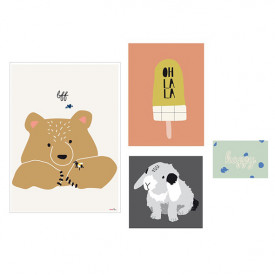 Set of 4 Posters - Happy