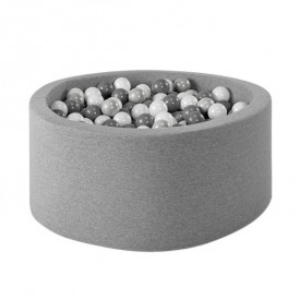Ball Pool Round Light Grey M - Silver - incl. 200 balls
