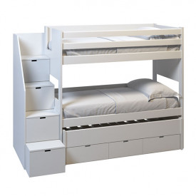 XL Bunk bed Movil w/ trundle bed and drawers - Staircase Left - 90x200cm