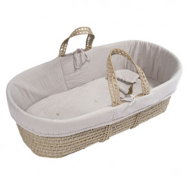 Moses Basket + Bed Linen - Powder