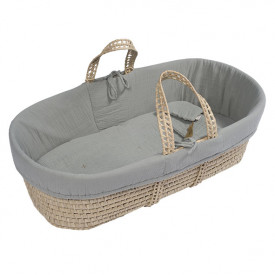 Moses Basket + Bed Linen - Silver Grey