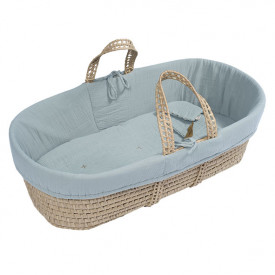 Moses Basket + Bed Linen - Sweet Blue