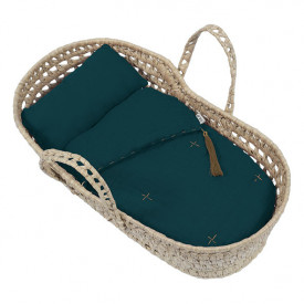 Doll Basket + Bed Linen - Teal Blue