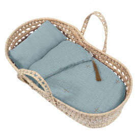 Doll Basket + Bed Linen - Sweet Blue