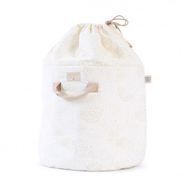 Bamboo Toy Bag - L - Bubble - Elements - White / Gold