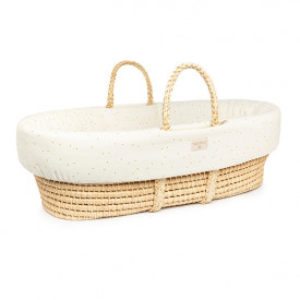 Padded Baby Moses Cover - Natural / Honey Dots