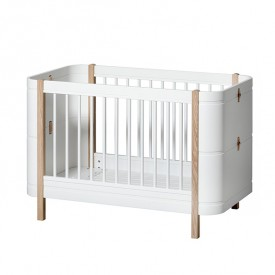 Wood Mini+ convertible cot bed with conversion kit (0-9 Y) - Oak