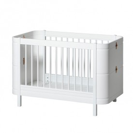 Wood Mini+ convertible cot bed with conversion kit (0-9 Y)- White
