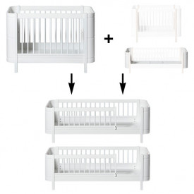 Mini+ Conversion Kit - Cot bed + Sibling Kit to 2 Junior beds - White
