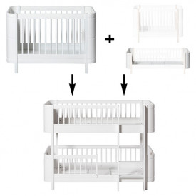 Mini+ Conversion Kit - Cot bed + Sibling Kit to Low-bunk bed - White