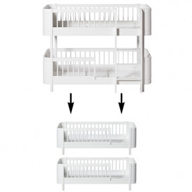 Mini+ Conversion Kit - Low Bunk Bed to 2 Junior Beds - White