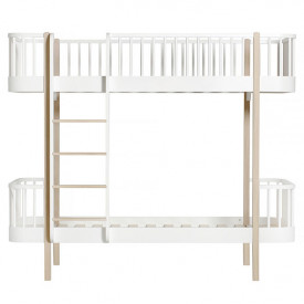 Wood Bunk Bed - Front Ladder - Oak