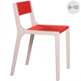 Wood and red felt Slawomir chair