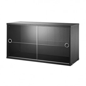 Cabinet w/ Glass Doors 78 x 30 cm - Black
