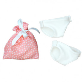 Set of 2 Doll's Nappies - Pink Pouch