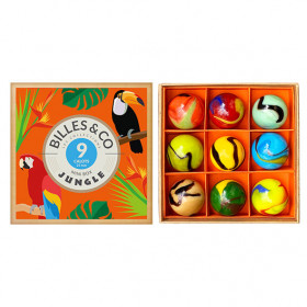 Box of 9 large marbles - Jungle