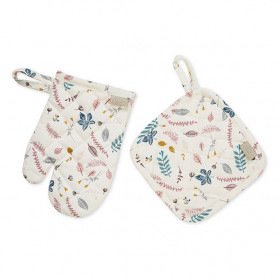 Kid's Oven Glove Set - Pressed Leaves Rose