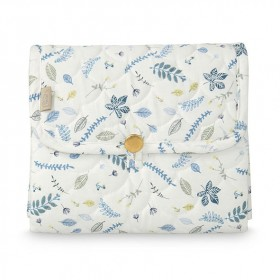 Travel Changing mat - Quilted - Pressed Leaves Blue
