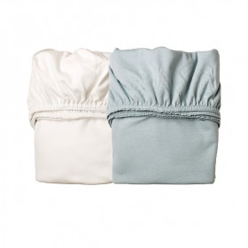 Set of 2 fitted sheets for cradle - Blue/White