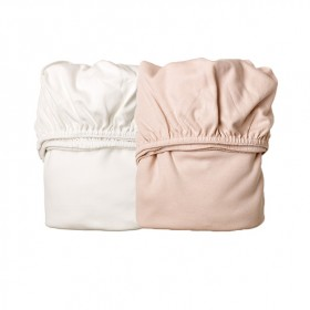 Set of 2 fitted sheets for cradle - Pink/White