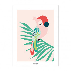Art Print Tropical Parrot Pink (30x40cm)