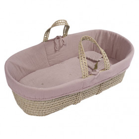 Moses Basket + Bed Linen - Dusty Pink