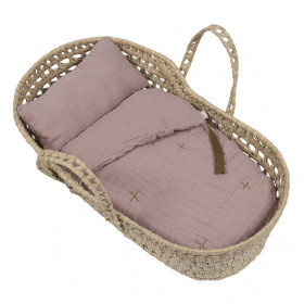Doll Basket + Bed Linen - Dusty Pink
