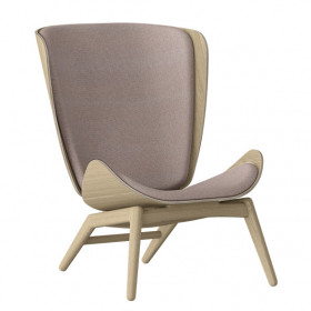 The Reader Wing Chair - Oak / Dusty Rose