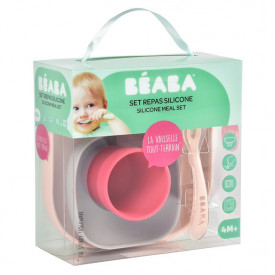 Silicone Meal Set 4 pcs - Pink  Pink Béaba