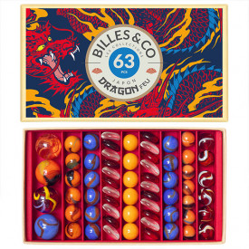 Box of 63 marbles - Dragon Fire Multicolour Billes and Co