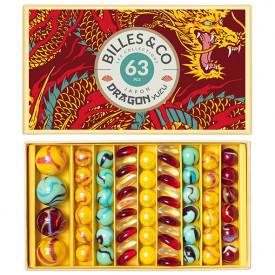 Box of 63 marbles - Dragon Yuzu Multicolour Billes and Co