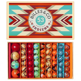 Box of 53 marbles - Indians Multicolour Billes and Co