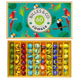 Box of 60 marbles - Jungle Blue Multicolour Billes and Co