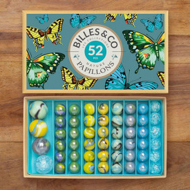 Box of 52 marbles - Butterflies Multicolour Billes and Co