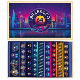 Box of 64 marbles - Sunset City Multicolour Billes and Co