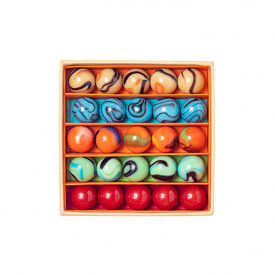 Box of 25 marbles - Indians Multicolour Billes and Co